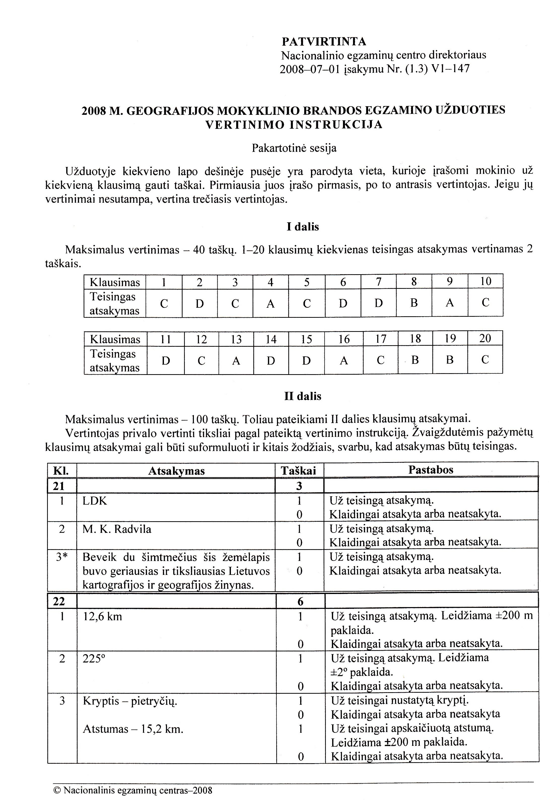 2008 Biologijos mokyklinio egzamino atsakymai