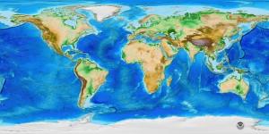 Pasaulio reljefo zemelapis sumazintas